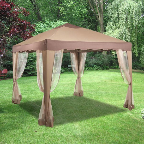 10x10 Portable Gazebo Replacement Canopy And Netting Garden Winds