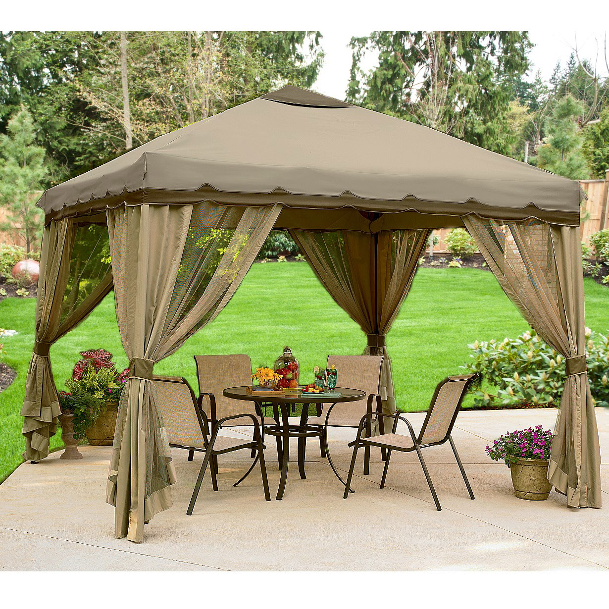 10 x 10 Portable Gazebo Replacement Canopy and Netting Garden Winds