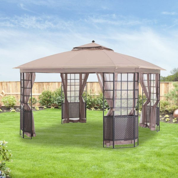 Replacement Canopy And Net Bay Grid 12x12 Gazebo - Riplock Garden Winds Canada