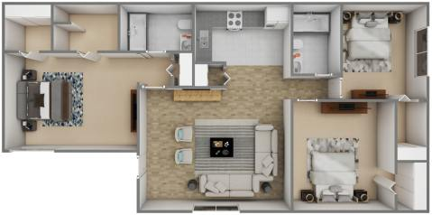 3 Bed / 2 Bath / 1200 ft² / Availability: Please Call / Deposit: $300