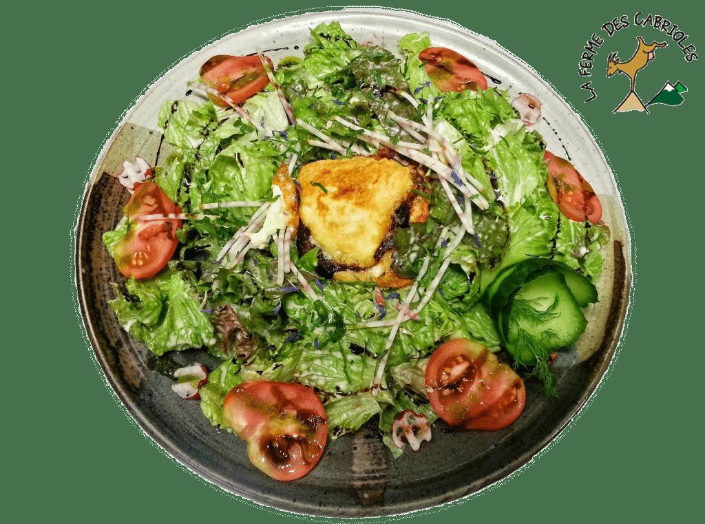 Salade de Chèvre chaud de la ferme des Cabrioles d'Orcières, farci de crême de pruneau et tranches de magret fumé.
