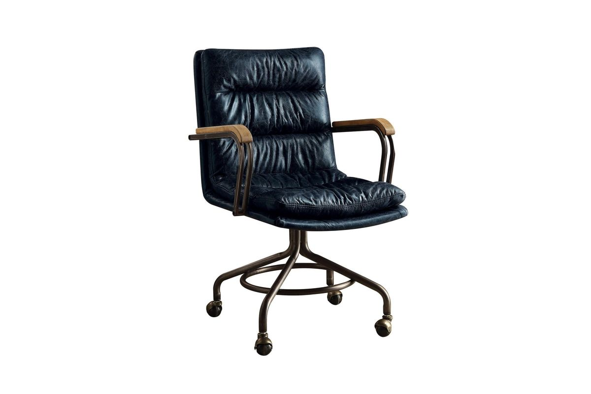 harith high back leather executive chair white padded folding chairs office in vintage blue by acme at gardner