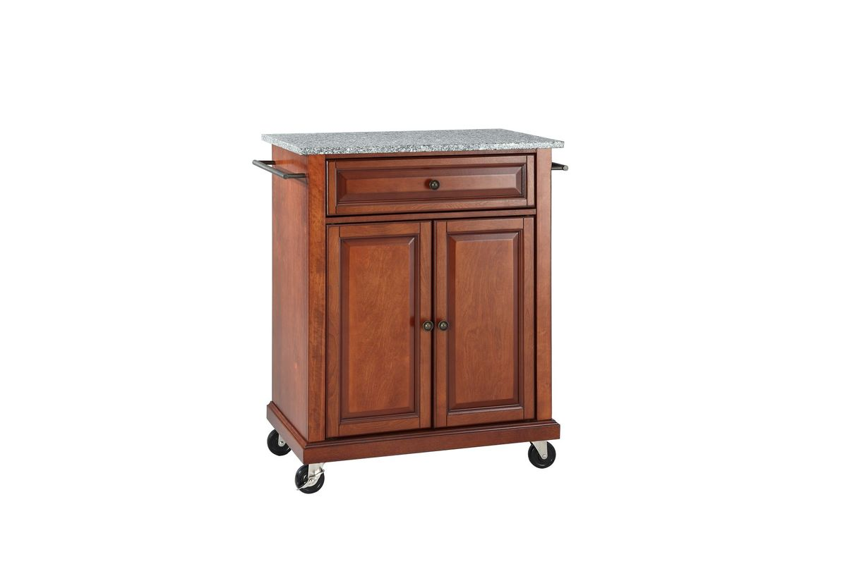 cherry kitchen cart refinishing ideas solid granite top portable island in classic by crosley from gardner