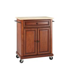 Crosley Kitchen Island Diy Outdoor Kitchens Natural Wood Top Portable Cart In Classic Cherry By From Gardner