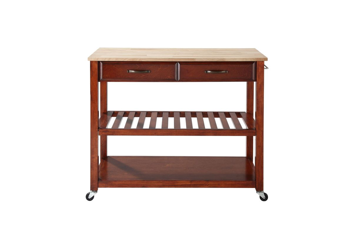 crosley kitchen cart ken onion knives natural wood top island with optional stool storage in classic cherry by