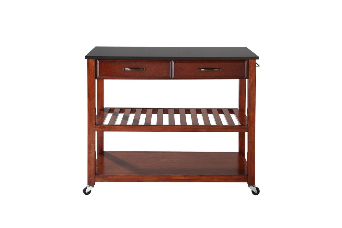 granite top kitchen cart knobs and pulls solid black island with optional stool storage in cherry by crosley