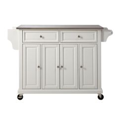 Stainless Steel Kitchen Cart Jcpenney Rugs Top Island In White By Crosley