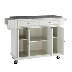 Unfinished Kitchen Cart Double Doors Solid Granite Top Island In White By Crosley
