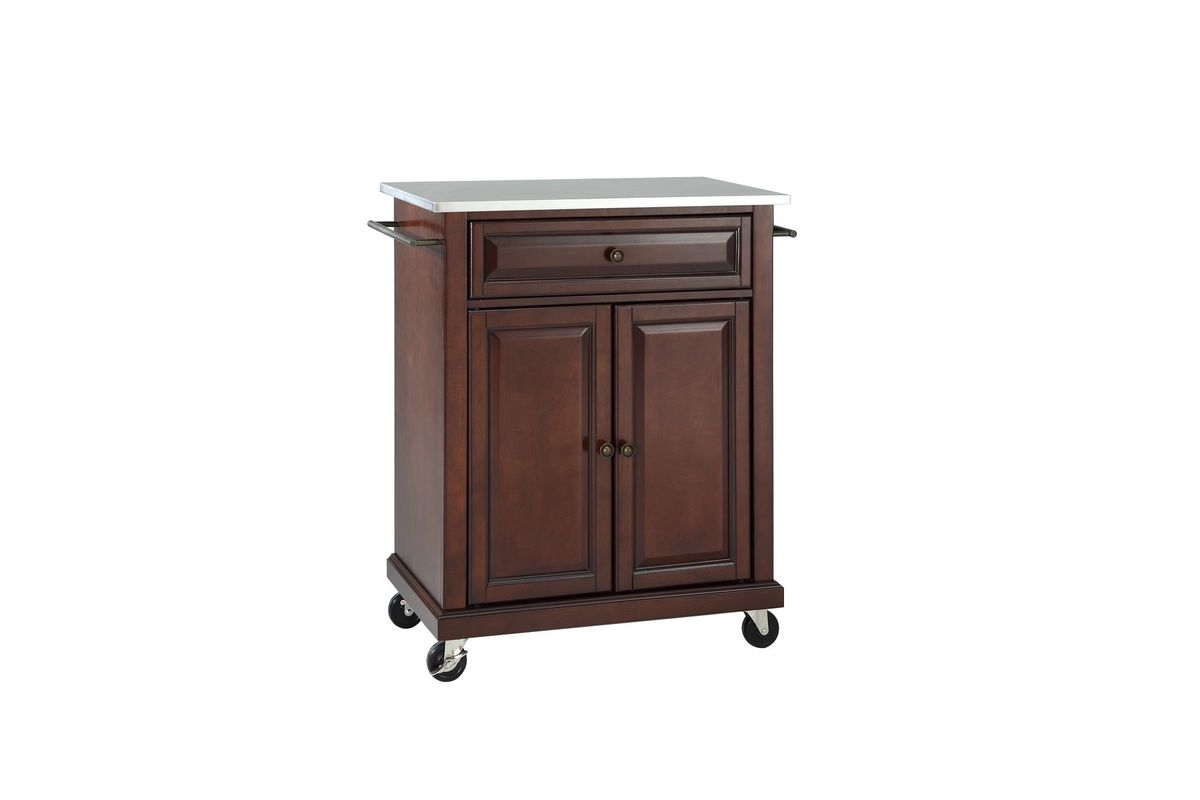 crosley kitchen cart dinette stainless steel top portable island in vintage mahogany by from gardner