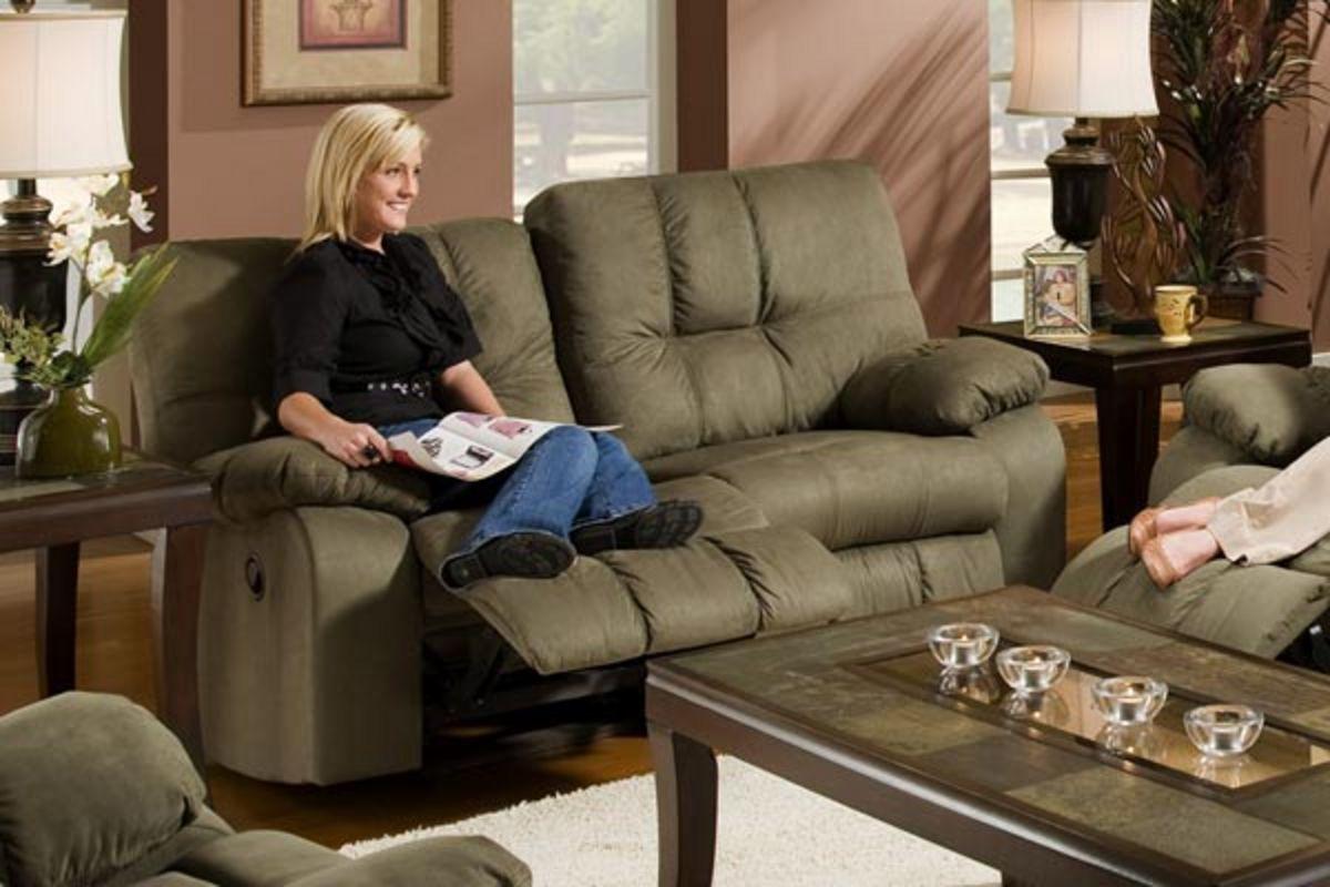 microfiber reclining sofa with drop down table extra long deep sofas safara sage loveseat at gardner white