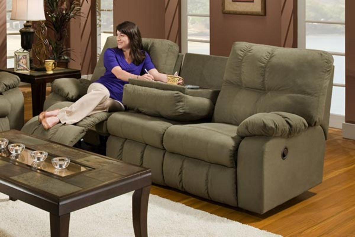 microfiber reclining sofa with drop down table sofas schweiz conforama safara sage at gardner white