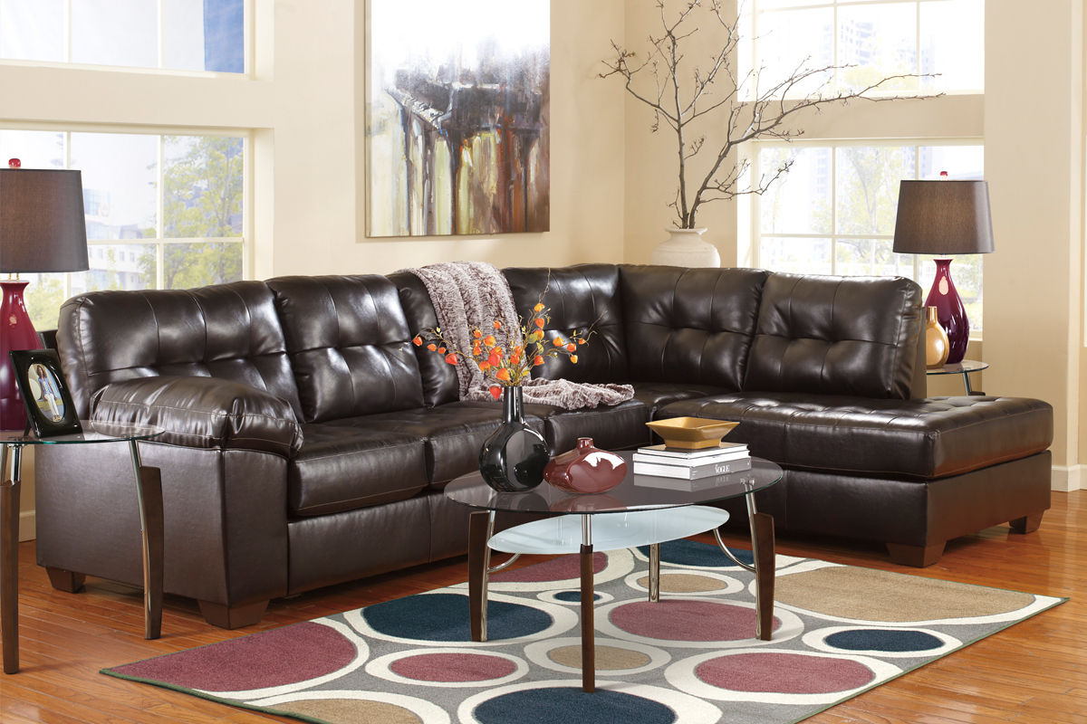 ashley bonded leather sectional sofa traditional alliston at gardner white