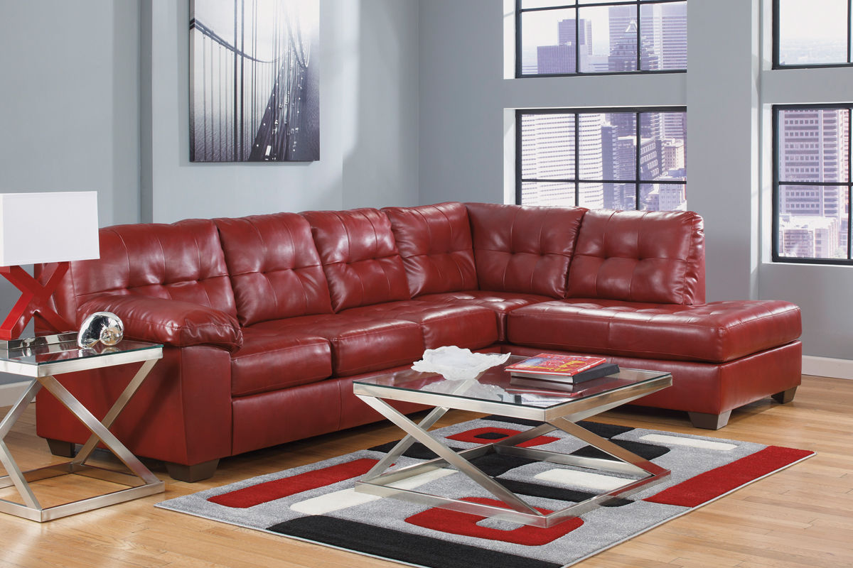 ashley red leather sofa reversible pet extra long slipcover bastrop steal a