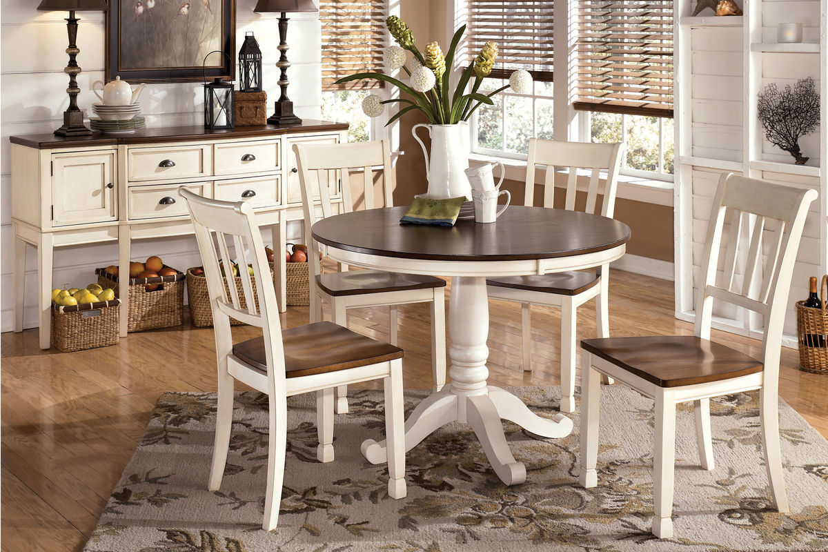 white round kitchen table with 4 chairs reclining folding chair footrest whitesburg 43 side at gardner