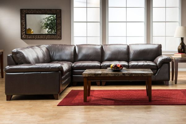Amaretto 2-piece Leather Sectional & Armless Chair
