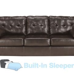 Leather Sectional Sleeper Sofa Queen Back Consoles Alliston Bonded At Gardner White