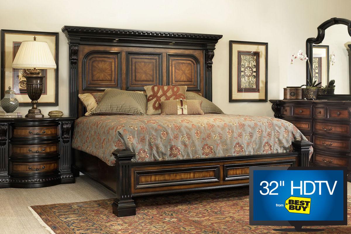 Cabernet Queen Platform Bedroom Set With 32 TV At Gardner