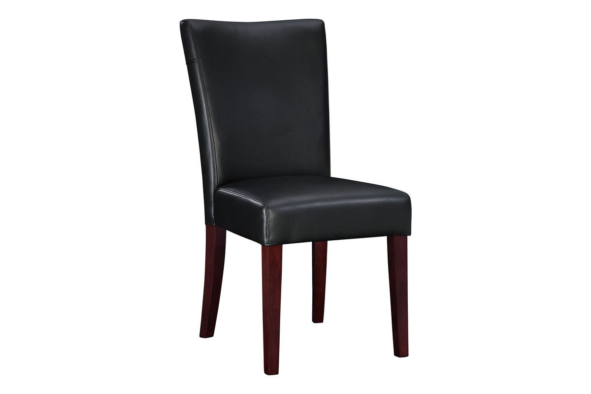black parsons chair clemson tailgate chairs bonded leather 18 1 2 quot seat height