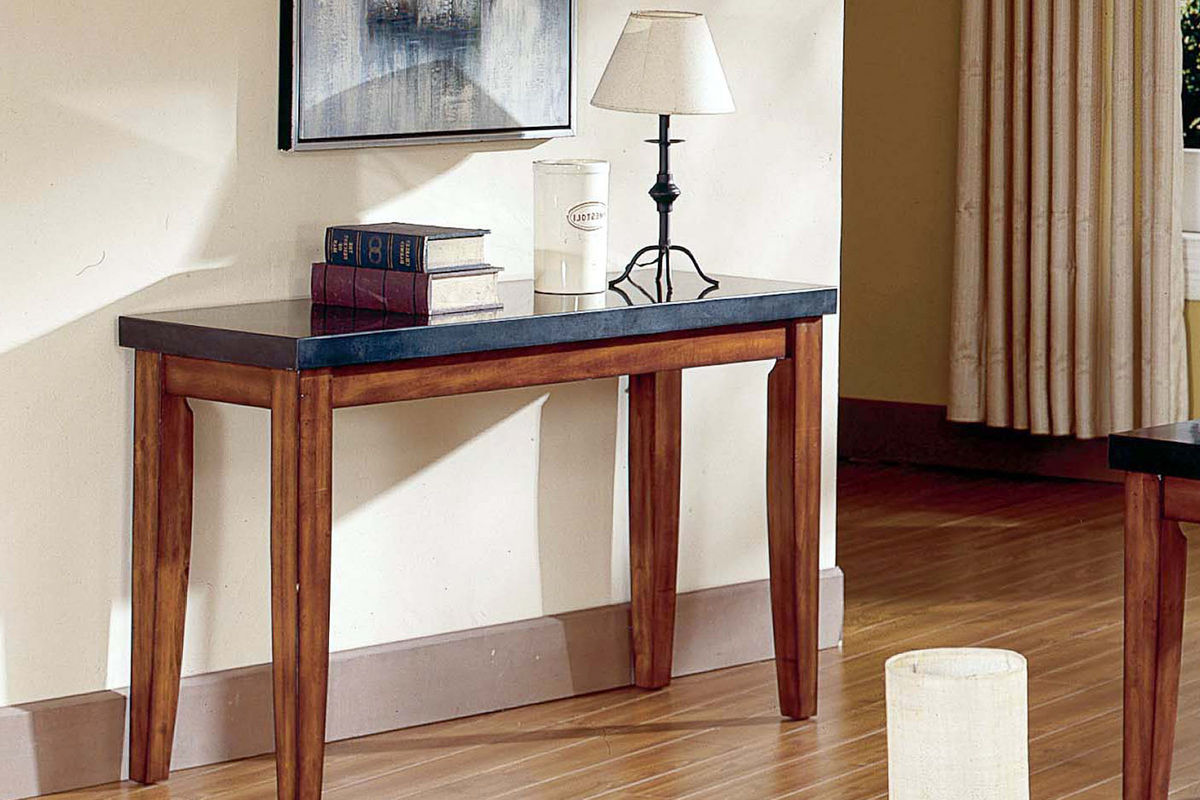 granite top sofa table blue and gray pillows city wood at gardner white