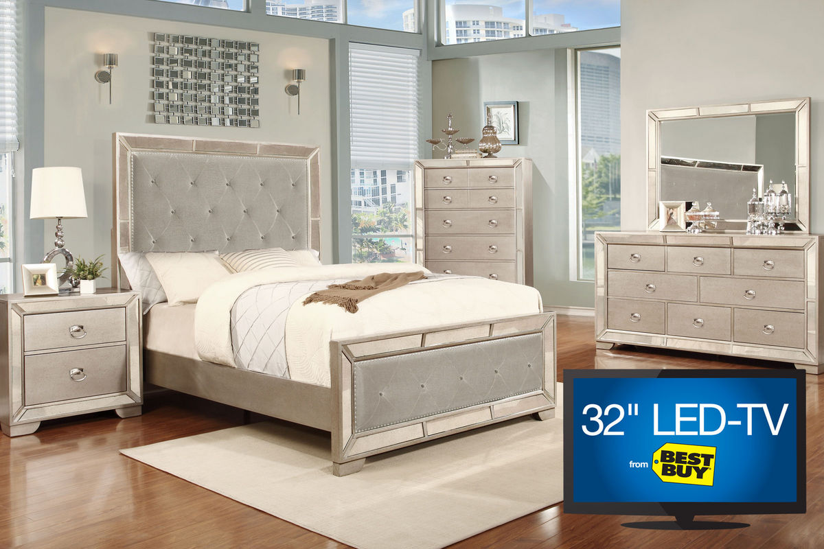 "image 5-piece queen bedroom set with 32"" led-tv"