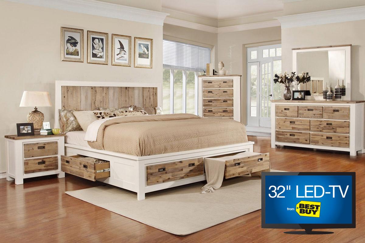 """Western Queen Storage Bedroom Set with 32"""" TV at Gardner"""