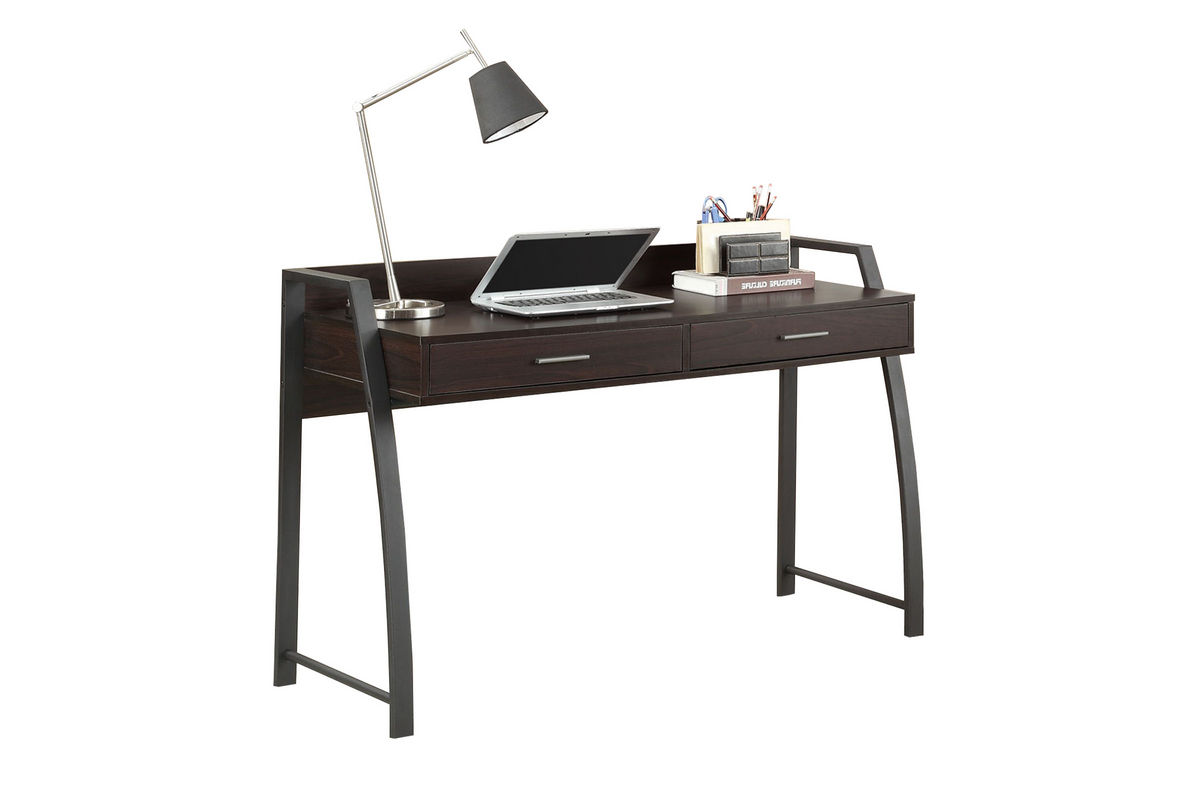 Deep CoffeeBlack Metal Computer Desk 801141 at GardnerWhite