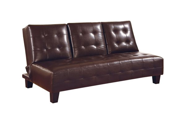 Brown Leather Armless Convertible Futon 300153 Gardner-white