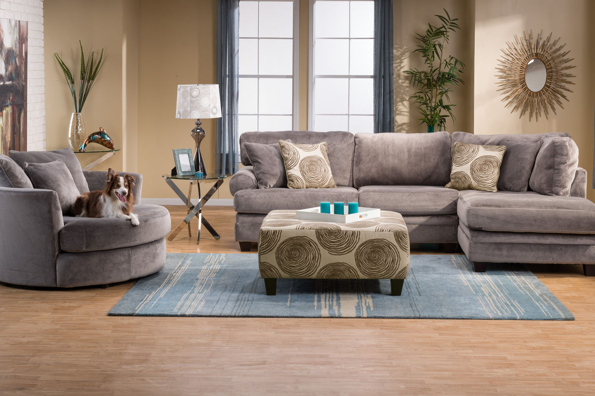 gardner white living room sets wood look tile floors in gaylord microfiber sectional with chaise on the right at