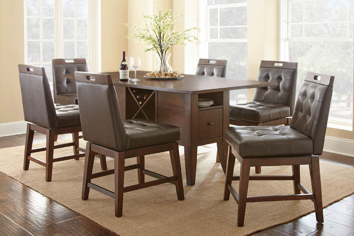 table with swivel chairs rubber floor protectors for chair legs mayfair 4 counter at gardner white