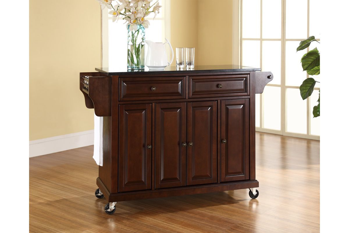 mahogany kitchen island used appliances for sale solid black granite top cart in vintage