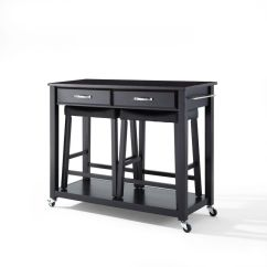 Unfinished Kitchen Cart Commercial Cleaning Services Solid Blk Granite Top Island In Black Finish