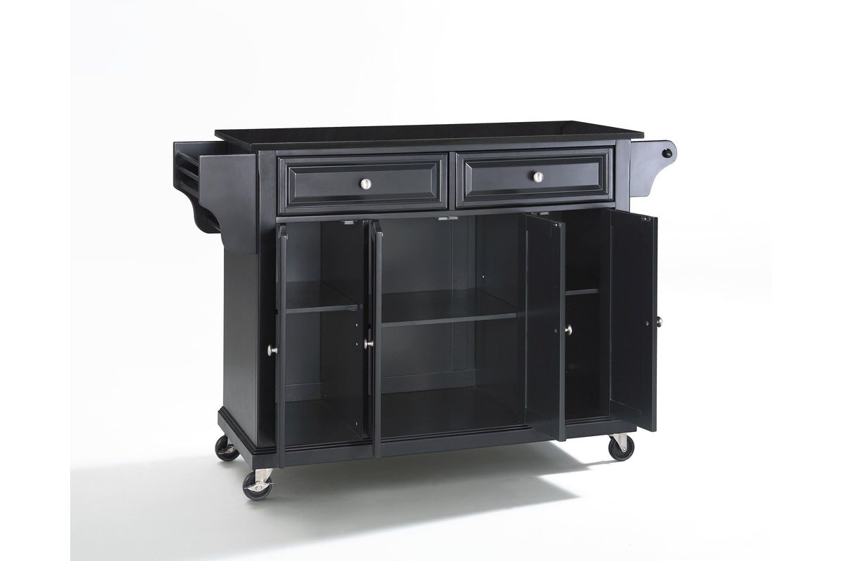unfinished kitchen cart small glass table solid black granite top island in
