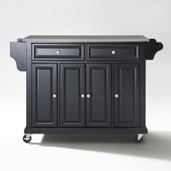 Kitchen Cart Stainless Steel Complete Cabinet Set Top Island In Black By Crosley