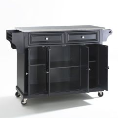 Stainless Steel Kitchen Cart Pans Top Island In Black By Crosley