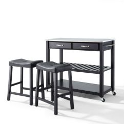 Stainless Steel Stools Kitchen Hardware Top Cart Island In Blk W 24
