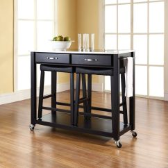 Stainless Steel Stools Kitchen Movable Cabinets Top Cart Island In Black With 24