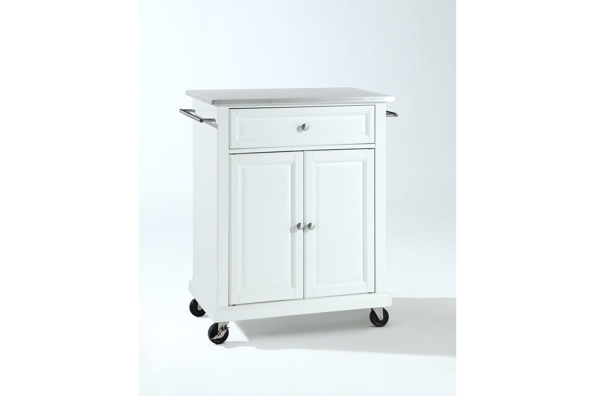 stainless steel kitchen cart 2x3 rug top portable island in white