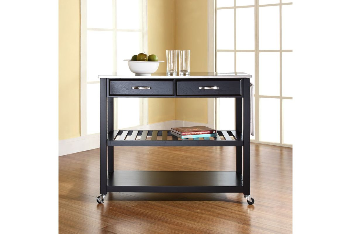 stainless steel kitchen cart shabby chic cabinets top island with optional