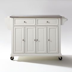 Kitchen Cart Stainless Steel Nook Table Set Top Island In White By Crosley