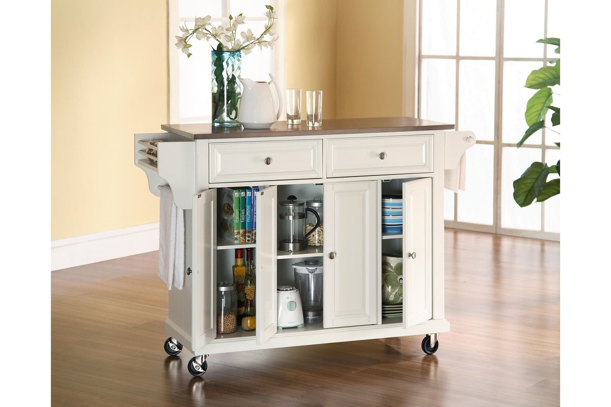 kitchen cart with stainless steel top furniture storage island in white by crosley