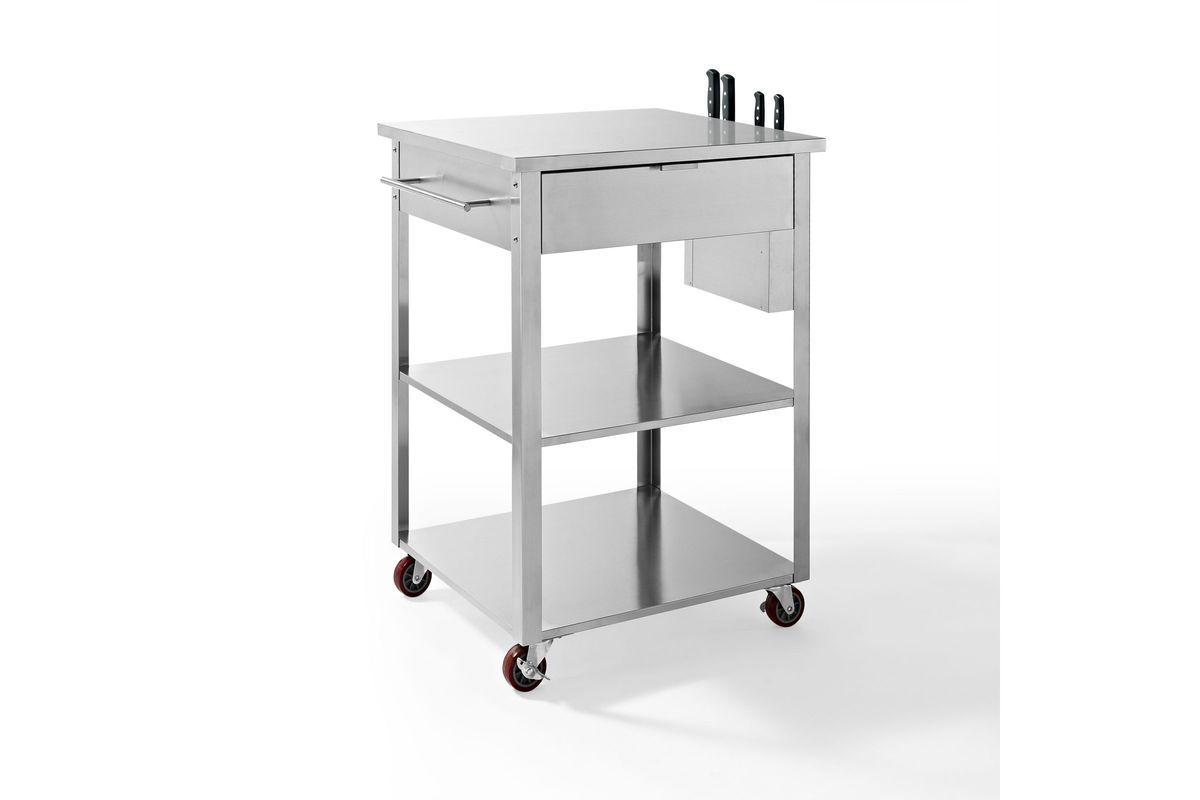 kitchen cart stainless steel high table set culinary prep in by crosley