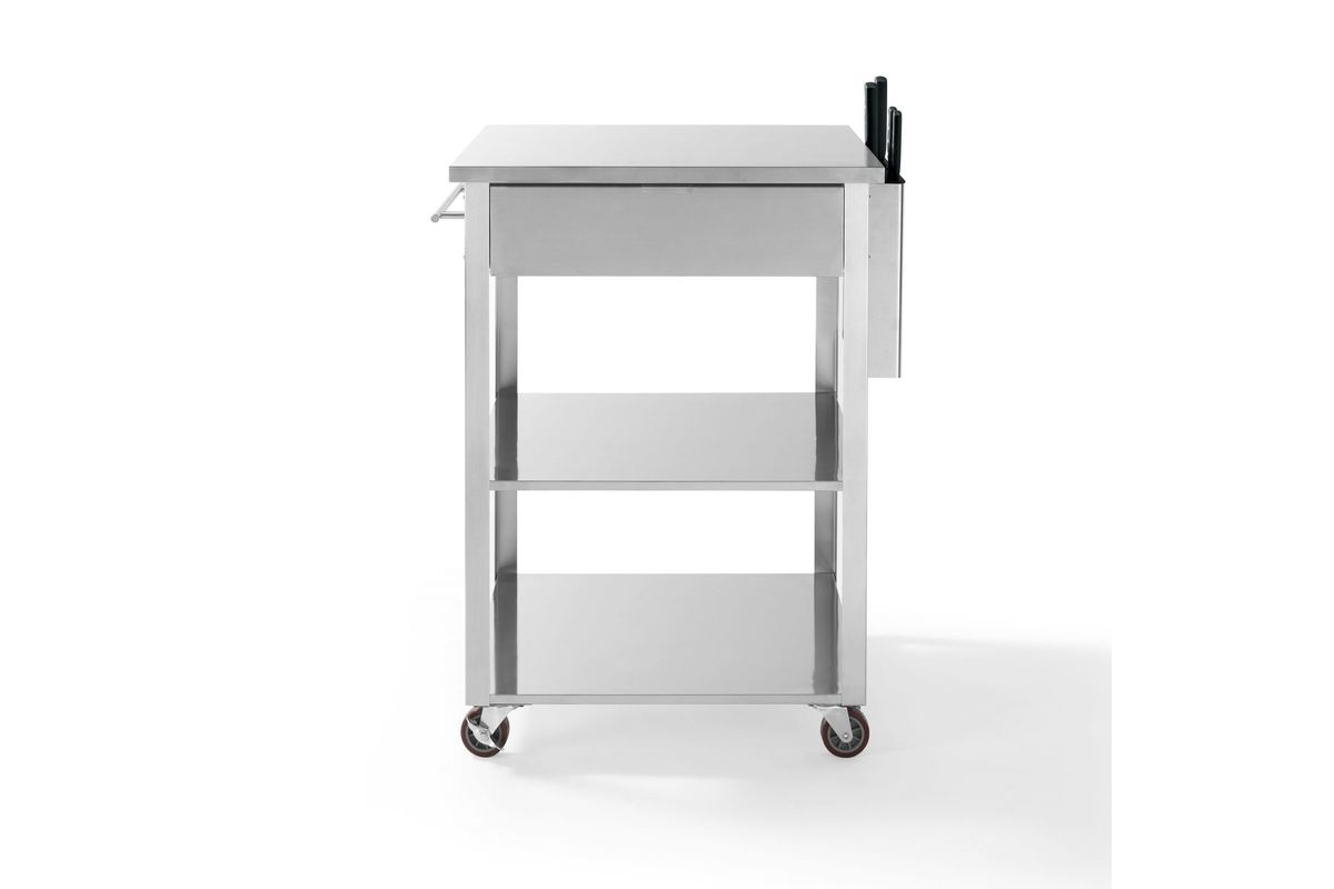 kitchen cart stainless steel subway tile backsplash culinary prep in by crosley