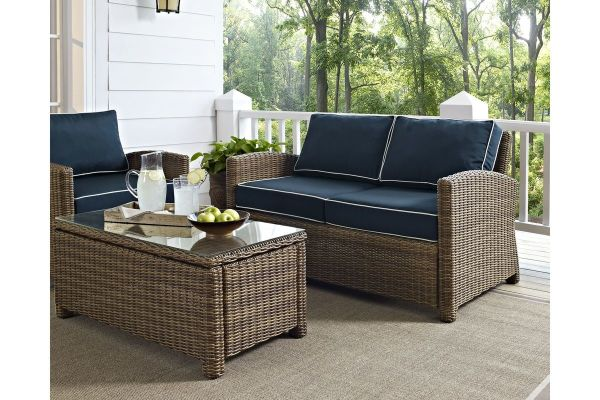 Bradenton Outdoor Wicker Loveseat With Navy Cushions In