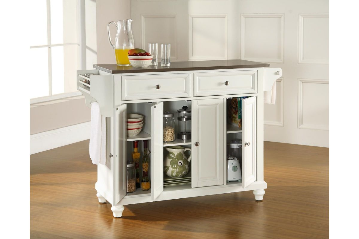 stainless steel kitchen islands magnets cambridge top island in white by