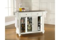 Cambridge Stainless Steel Top Kitchen Island in White by ...