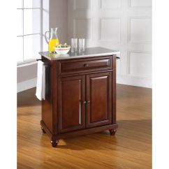 Mahogany Kitchen Island Hardware On Cabinets Cambridge Stainless Steel Top Portable In