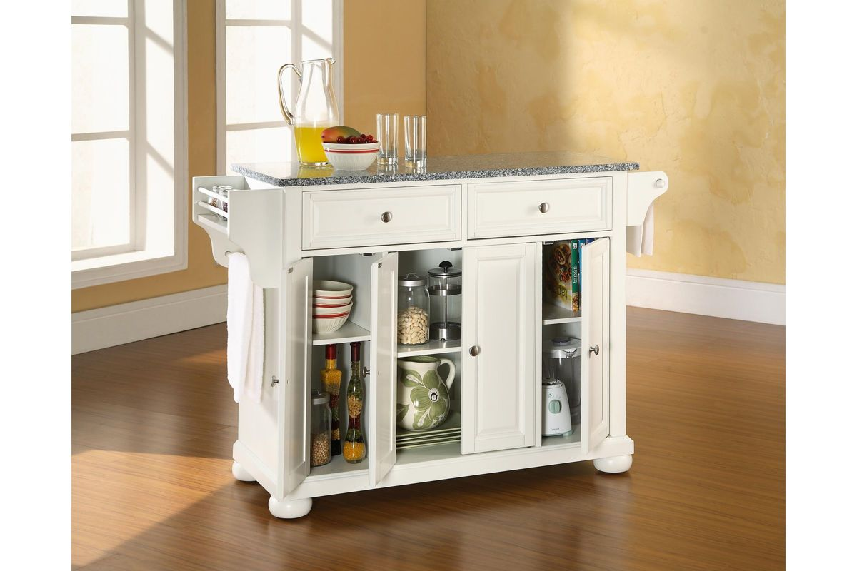 crosley alexandria kitchen island small renovations solid granite top in white by