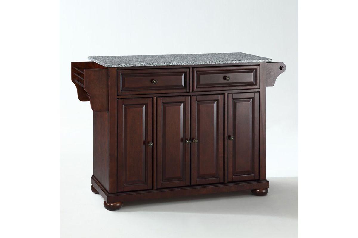 mahogany kitchen island lazy susan alexandria solid granite top in vintage