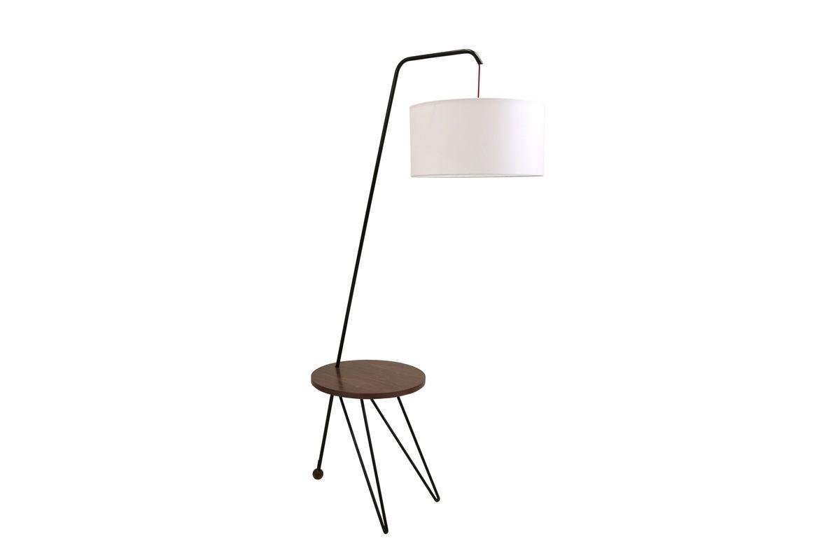 Stork Mid Century Modern Floor Lamp With Walnut Wood Table