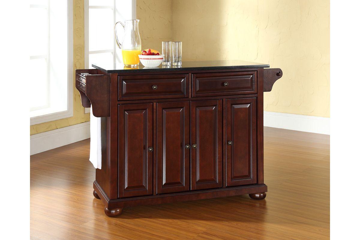 mahogany kitchen island metal cabinet alexandria solid black granite top in